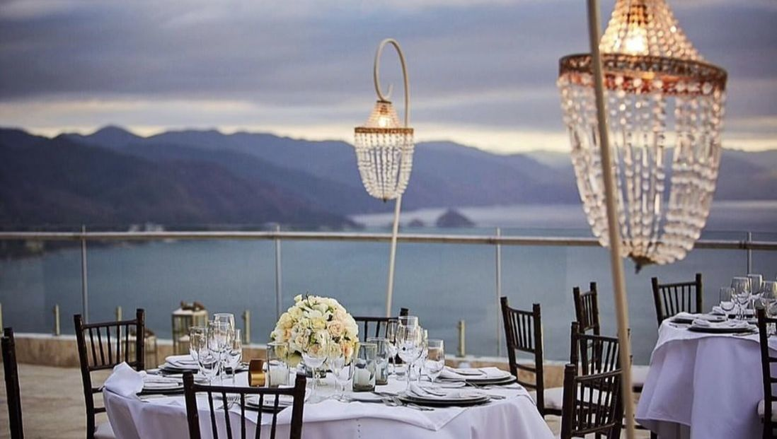 Table setting overlooking the pacific ocean